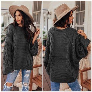 CABLE KNIT OVERSIZED SWEATER